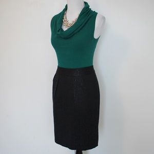 BANANA REPUBLIC Size 4 Skirt Blouse Black Green